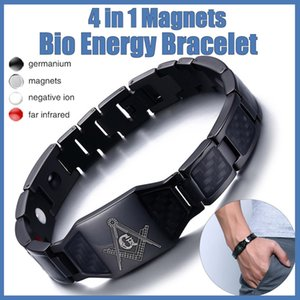 4 in 1 Men Steel Magnetic Therapy Healing Bracelet Bio Magnet Health Care Bangle Relieve Pain Anti Radiation Wristband Gift