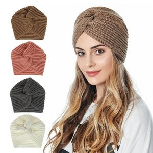 Boho Style Women Knot Bandanas Fashion Knitting Warm Muslim Scarf 2020 Autumn Winter Turban Cap Solid Color Cross Headscarf