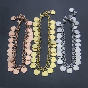 Europa Amerika mode stil dame frauen titanium stahl graviert t initials quasten herzen und runde charme kette armband 3 farbe