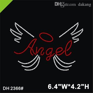 Free shipping 2017 high quality angel with wings hot fix rhinestone motif for pocket DIY DH2366#