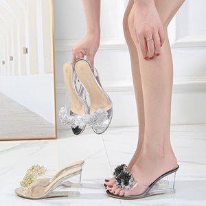Yaz Sıcak Satış 8 cm Yüksek Topuklu Ayakkabı Takozlar Temizle Kristal Terlik Glitter Rhinestone 3 Inç Moda Yenilik Çapraz Dressing1