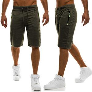 Yaz Saf Renk Eğlence Hareket Vücut Geliştirme Bunbuk Pantolon Tether Fermuar Süslemeleri Pantolon Erkek Giyim Şort Erkekler Gevşek