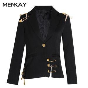 Kadın Takım Elbise Blazers [Menkay] Patchwork Dantel Yukarı Oymak Blazer Çentikli Uzun Kollu Ince Zarif Kadın Takım 2021 Sonbahar Moda