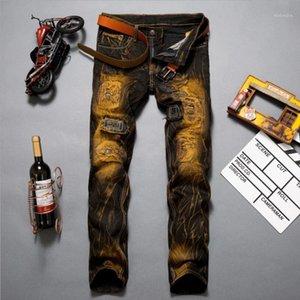 Classdim uomini buchi skinny jeans jeans nuovo moda uomo patchwork sottile jeans lungo jeans streetwear lungo casual denim1