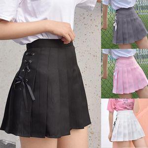 Moda Mujeres Sólido Pliegues A-Line Falda Anti-Burnut High Cintura Falda corta