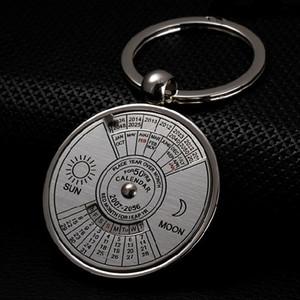 Retro 50 Years Perpetual Calendar Keychain Sun Moon Compass Keyring Valentine's Day Couple Gift Metal Key Chain Pendant 43*76MM