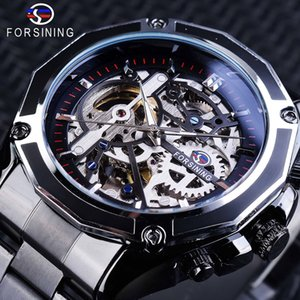 Forsining Mother Movimiento automático Steampunk Black Design Top Pulsera Mecanical Watches Men's Brand Reloj Skeleton Luxury Gnbol