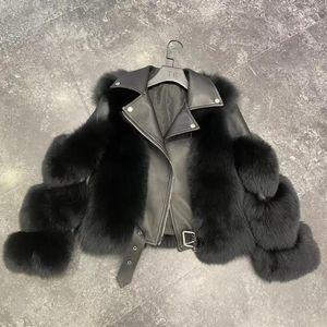 Brand 2020 Luxury Real Fur Coat Winter Jacket Women Natural Fur Genuine Leather Locomotive Outerwear Streetwear Thick Warm