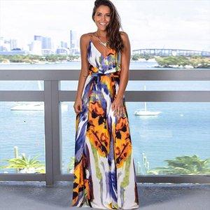 Seksi Kadınlar Maxi Elbise Spagetti Kayışı V Boyun Kolsuz Backless Fırfır Hem Elbiseler Yaz Plaj Tatil Uzun Elbise Sundress Yeni