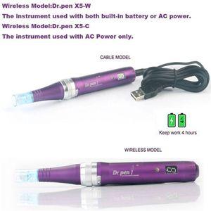 Ultima X5 الدليل القلم X5-W اللاسلكية السلكية الكهربائية ديرما القلم السيارات microneedle dermapen مع شاشة LED 5 سرعة نظام microneedle القلم