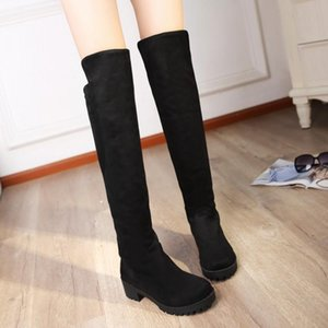 2020 winter women boots skinny knee boots frosted female low heel with thick bottom tube high warm plus size 42 43