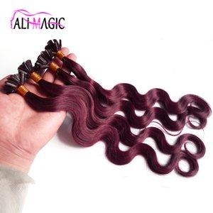 Pre Bond u Накопление волос наращивание волос бразильской волны тела # 99J красное вино 14-24 дюйма 100 г / 100strands клей Кератин высочайшее качество 100% человеческие волосы