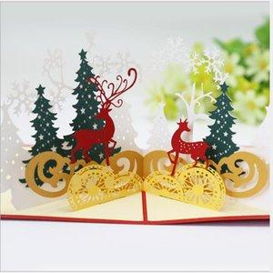 Forest Deer 3D Pop-up Greeting Card Christmas Pop-up Greeting Card Hollow Paper Carving Postcard 15cm Christmas card