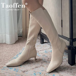 Taoffen Femmes Cuissardes Gros talon bout pointu Chaussures Zipper hiver chaud Chaussures Mode Party Femmes Chaussures Taille 33-40