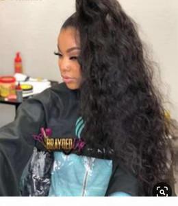 Длинные Corn завитые Ponytail человеческих волос Pieces кулиской Клип на хвостик Наращивание волос реальных Кусочки волос