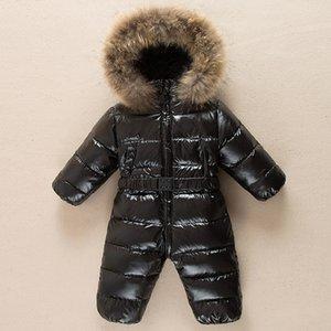 Зимние теплые детские Rompers комбинезон детей утка вниз комбинезон Snowsuit Toddler дети мальчики девочек мех с капюшоном костюм одежда Y1221