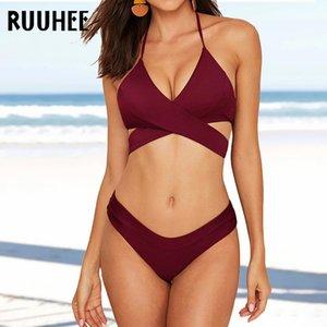 Ruuhee Set Bikini Sexy Sommer Strand Tragen Gepolsterte Fassuit Push Up 2021 Badeanzug für Frauen