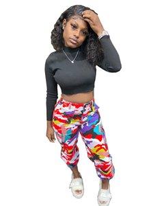 Calças Moda Camouflage Impresso Womens Casual Designer Carga Pants contraste de cores de outono e inverno Roupas Femininas