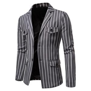 2020 Collar Blazers novo apartamento dos homens Casual Jacket Único Breasted Moda Striped Mens Blazer outono vários bolsos Blazer Men