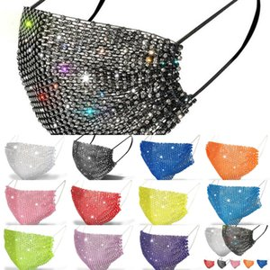 mask  fashion bling  mask men women mouth masks with face drill facemasks summer decoration rhinestone masks for boys Y9