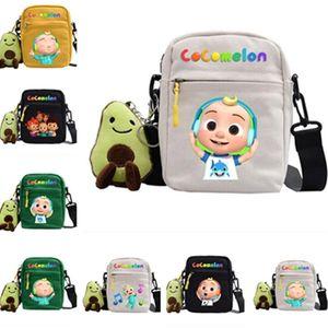 2021 Cocomelon JJ Fanny Pack Kids Cartoon Crossbody Shoulder Bag with Plush Avocado Doll Toy Pendant Key Holder Travel Sport Tote LY10291