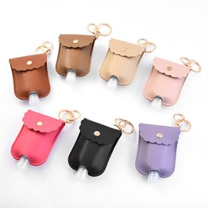 PU Leather Hand Sanitizer Bottle Holder Keychain Bag with 30ML Bottle Hand Soap Bottle Holder Key Ring Pendants Cover DH