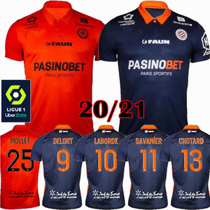 2020 2021 Montpellier HSC Football Maillots Chotard Laborde Delord Mavididi maison loin 20 21 S-Maillot de foot 2XL