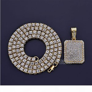 Men's Hip Hop Iced Out CZ Gold Silver Dog Tag Pendant Necklace Full Iced Out Rhinestones Crystal 24inch Tennis Chain Necklace