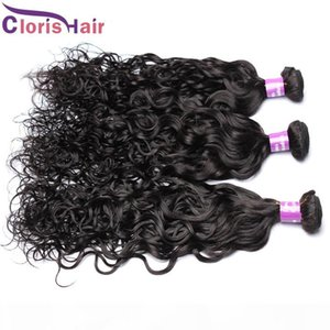Vague de cheveux humains Weave Raw Indien humide et non transformés onduleux Remi Hair Extensions Cheap Nautal Bundles vague vendeurs DHGATE