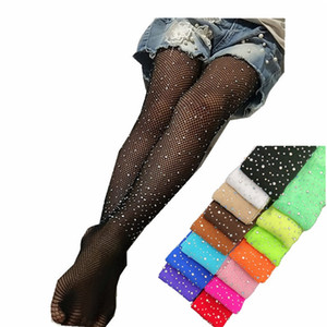 INS 16 Colors Kids Girls Pantyhose Gauzy Tights Dance Socks Candy Color Children Rhinestone Elastic Legging Kids Ballet Stockings 540 K2
