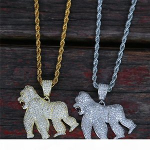 18K Gold Plated Men Orangutan Pendant Necklace Ice Out Bling CZ Mens Hiphop Jewelry 2019 New Fashion Jewellery