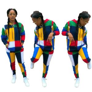 النساء 2 قطعة ملابس مصمم السراويل المطبوعة كتلة كتلة خياطة مقنع تي شيرت بنطلون عارضة الدعاوى السيدات أزياء طويلة الأكمام أعلى مجموعات