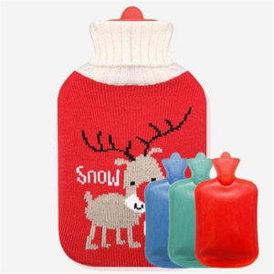 0.5 1 2l Cute Christmas Cartoon Hot Water Bottle With Knit Bottle Cover Large Capacity Household Rubber Warm Hand Home Winter jllceD