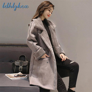 De Manga Larga LDHTZKCX color sólido de gran tamaño capa femenina 2020 de invierno nueva de la manera floja cremalleras Bolsillos de lana chaqueta de lana CX341