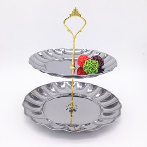 2 Tier Stainless Steel Detachable Candy Cake Fruits Dessert Delicate Plate Stand For Home Bouquet Party Wedding Decoration Za1547