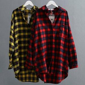 VogSean Automne Coton Plaids Femmes Blouses Chemise 2019 Haute Qualité Mode Plus Taille T-shirts Femme Tops Plaid Tops Rouge / Jaune Q0112
