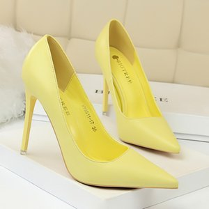 Hot Wedding Shoes Pointed Toe Pumps Patent Leather Dress 7.5 10.5CM High Heels Boat Shoes Shadow Brand Wedding Shoes Zapatos Mujer