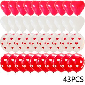 43pcs Red Heart Shape Balloons Decorations Kit Wedding Decors Valentines Day Gifts Heart Printed Latex confetti Globos helium