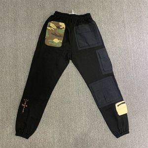 Marka Yeni Travis Scott Kaktüs Jack Sweatpants Erkekler Kadınlar Taktik Çok Cepler Pantolon Hiphop Erkekler Kamuflaj Yama Sweatpants 201109