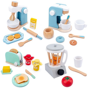 Kitchen Pretend Play Toy Wooden Simulation Coffee Machine Toaster Machine Mixer Juicer Baby Early Learning Educational Toys Gift LJ201009