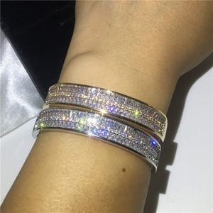Choucong Sparkling Shinning Luxury Jewelry 10KT White Gold Fill Double Princess Cut White Topaz CZ Diamond Party Women Wedding Bridal Bangle