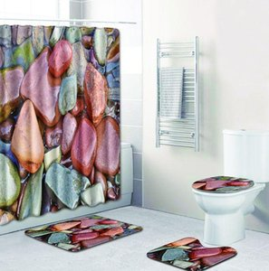 Stone Printed Bath Mat and Waterproof Shower Curtain Set Bathroom Carpet Rug Bath Floor Mat Set Anti Slip Toilet Seat Cover