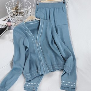 2020 Spring and Autumn New Western Style Knitting Suit Women's Fashion V-neck Blouse + Casual Pants Dotted Two-piece Suit