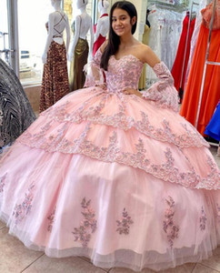 Pink Princess Ball Gown Quinceanera Dresses Appliques Lace Beading Puffy Sweet 16 Party Prom Evening Dress