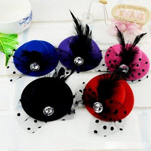 10cm Mini Kids Party Hat Bridal Feather Veil Hair Clip Wedding Birthday Party Costume Fancy Dress Free Shipping