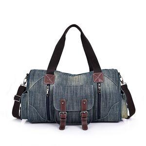 HBP Путешествие Duffle Bag Джинсовая Ретро Большая сумка Сумка Съемный Плечо Сумка Два Цвета