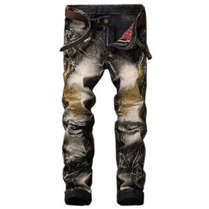 Primavera Otoño Niza mareas Mens ajuste delgado del remiendo rectas de alta calidad pantalones vaqueros de Hip Hop del motorista del punk Vaqueros ajustados