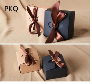 8*8*5cm Vintage Kraft Paper Small Gift Box With Ribbon Wedding Candy Box Black paper for cookies