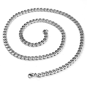 BONISKISS 20 Inch Basic Punk Stainless Steel Necklace for Men Women Curb Cuban Link Chain Chokers Vintage Silver Colour Necklace