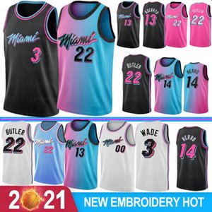 Dwyane 3 Wade Mens Basketball Jerseys Jimmy 22 Butler Tyler 14 Herro Adebayo Goran Robinson 7 Dragic 2021 New Jerseys S-XXL
